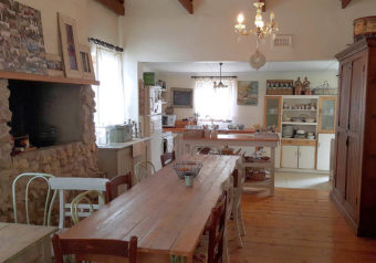 Dining table and chairs, open fireplace/braai and kitchen